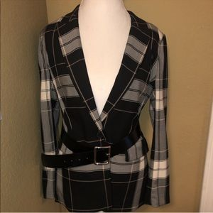 H&M Black pink grey white blazer